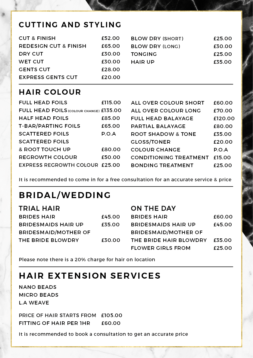 Hair Pricelist - March 2019